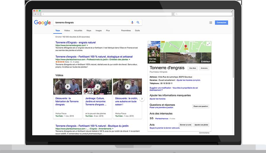 Affichage des avis sur la recherche Google