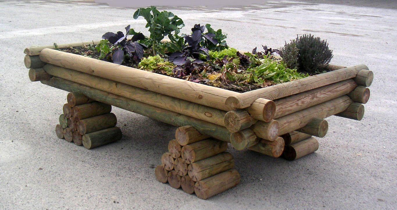 le jardinou jardini re en bois sur lev e pour jardiner debout. Black Bedroom Furniture Sets. Home Design Ideas