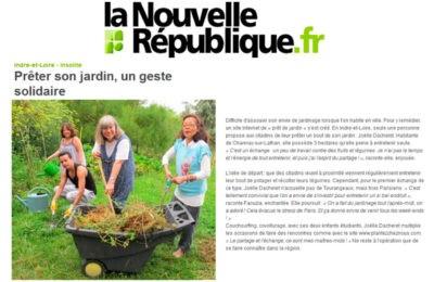 La Nouvelle République - Prêter son jardin, un geste solidaire.