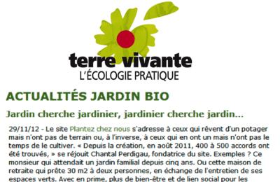 Terre Vivante - Jardin cherche jardinier, jardinier cherche jardin