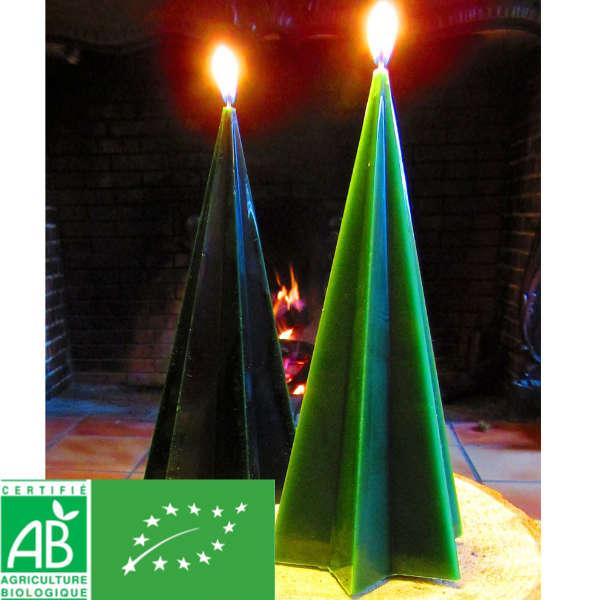 Bougie de Noël étoilée au sapin bio