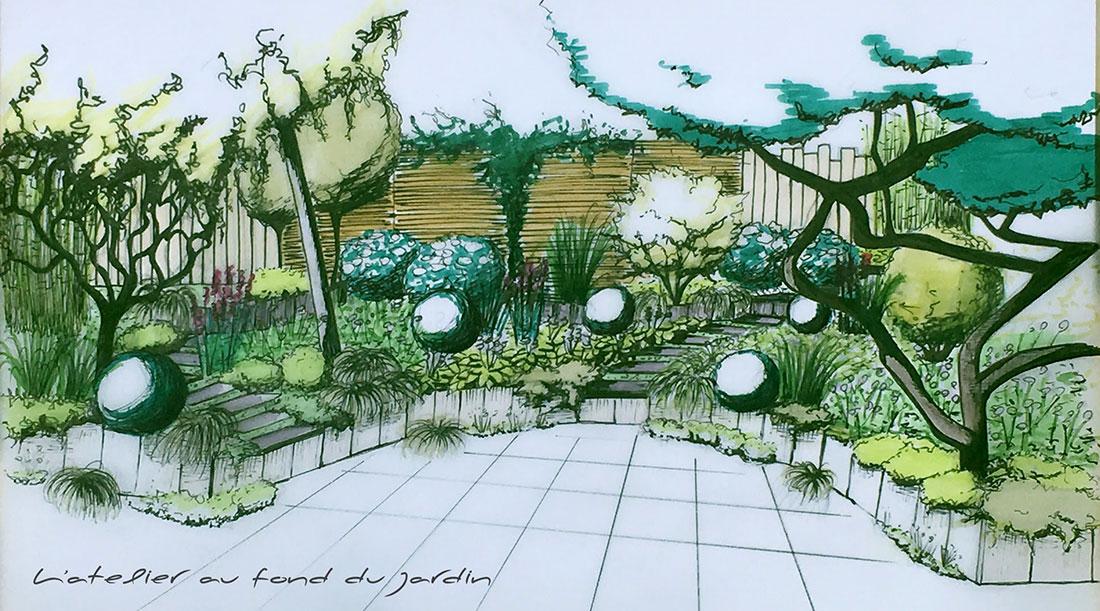 Esquisse L'Atelier au fond du jardinelier du jardin
