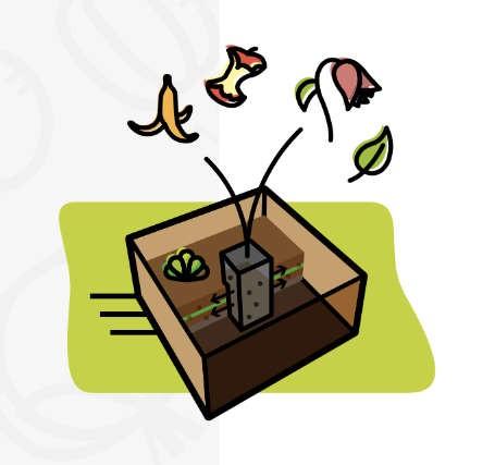 Insertion de biodéchets dans la colonne de compostage