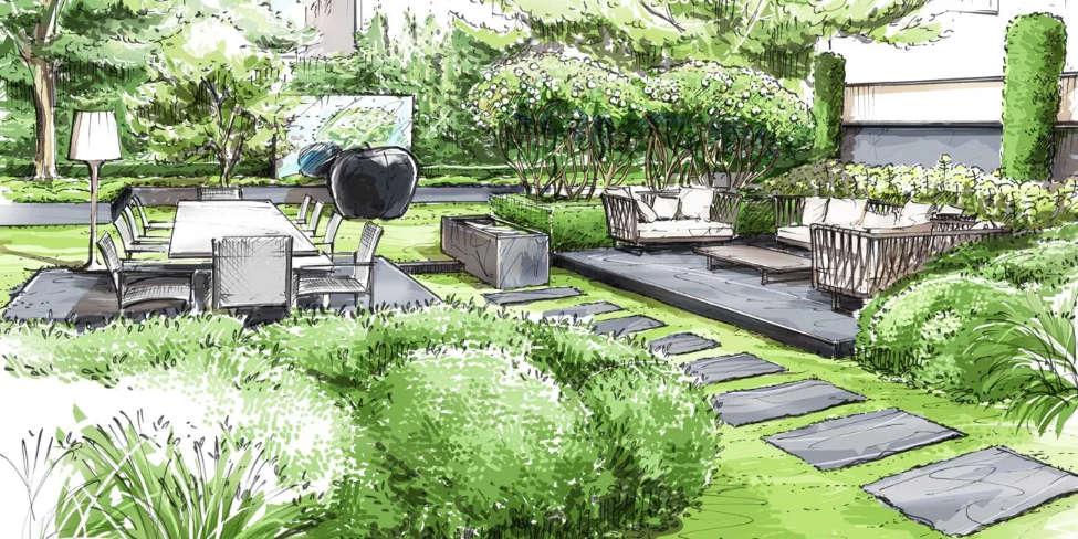Croquis aménagement jardin