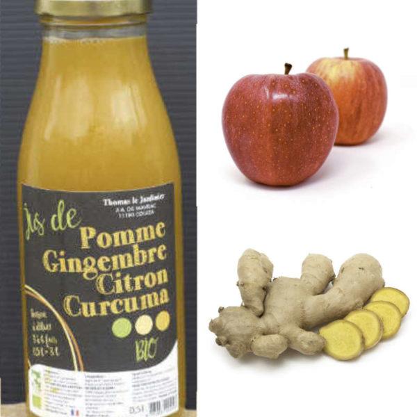 Boissons concentrées gingembre curcuma pommes