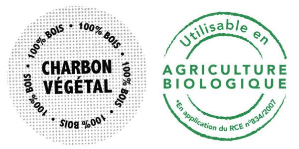 logos charbon végétal et utilisable en agriculture biologique