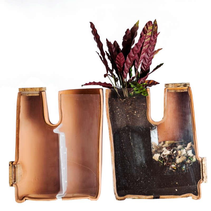 pot-de-fleurs-composteur-vue-en coupe