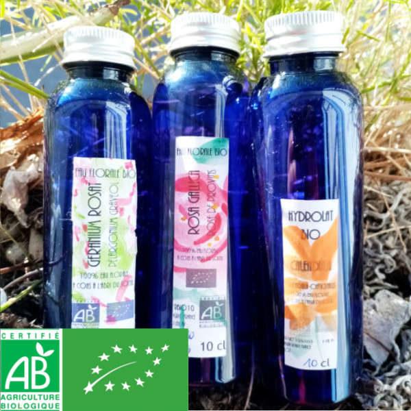 Coffret eaux florales bio : calendula, geranium rosat, rose